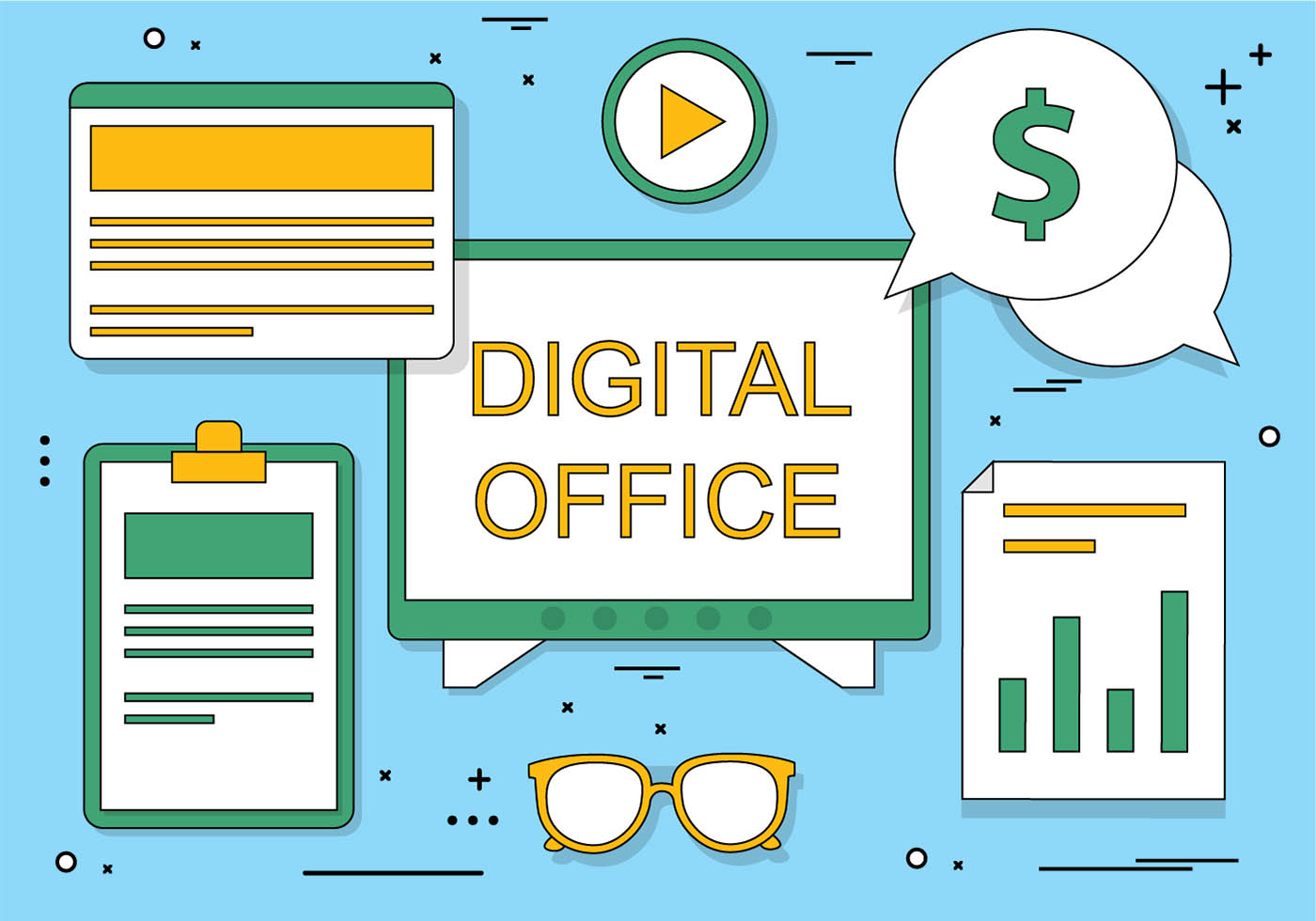 Free flat design vector digital office icons download for Free blueprint designer