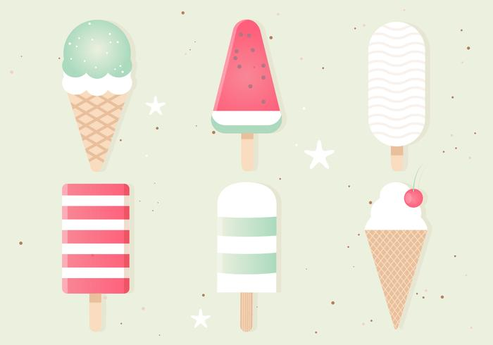Free Flat Design Vector Ice Cream Set