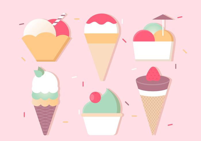 Free Flat Design Vector Ice Cream Icons