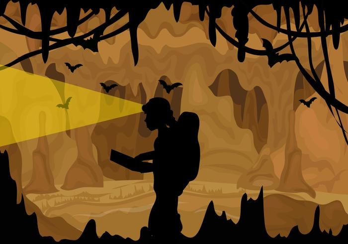 A Cavers Exploring A Cave vector