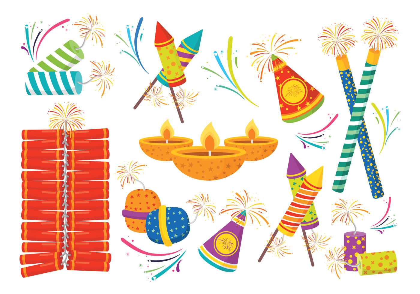 Diwali Fire Crackers Icons Vector - Download Free Vector ...