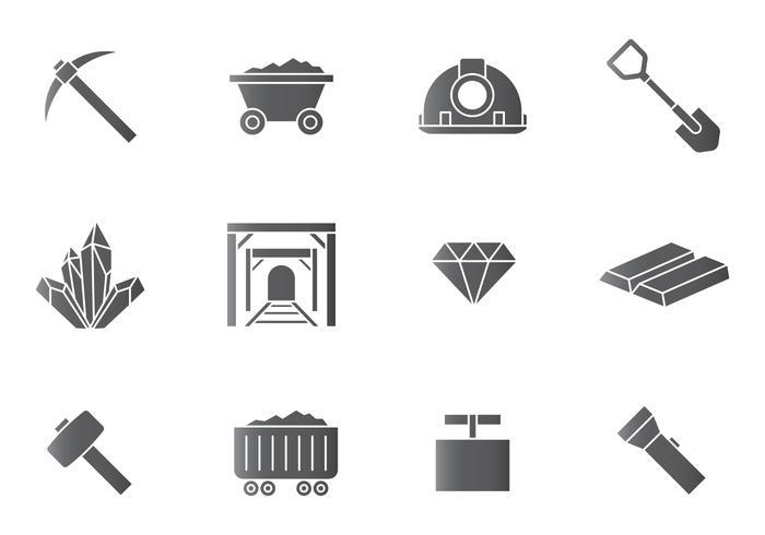 Iconos de minería vector