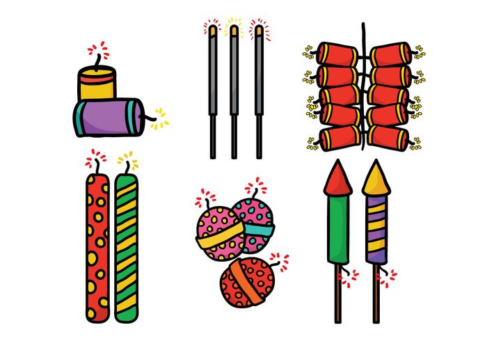 Diwali crackers vector set