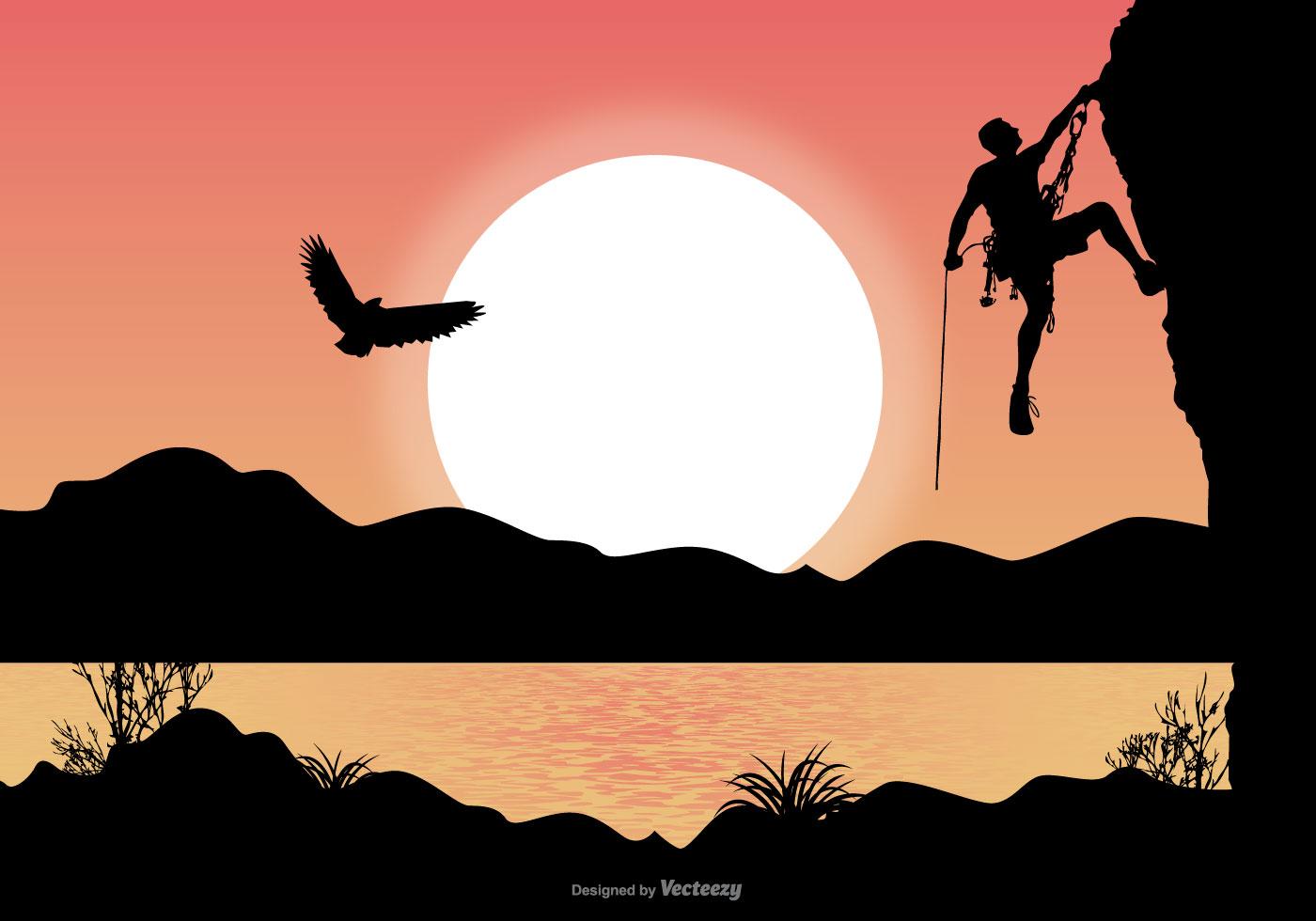 Landscape Illustration Vector Free: Alpinist Landscape Illustration