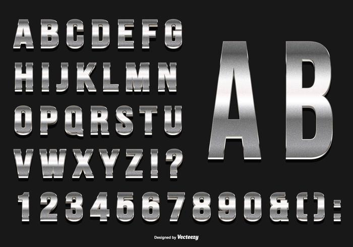 Glittery Silver Alphabet Collection vector