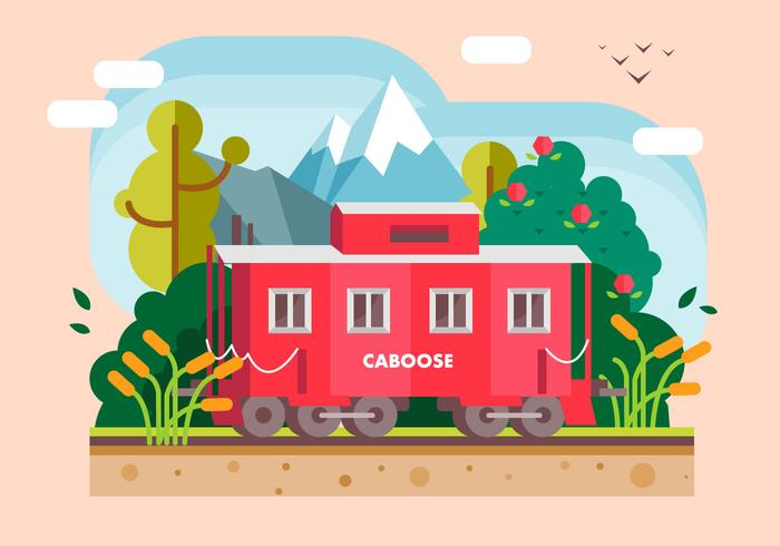 Red Caboose Restaurant Outdoor With Natural Landscape Vector Flat Illustration