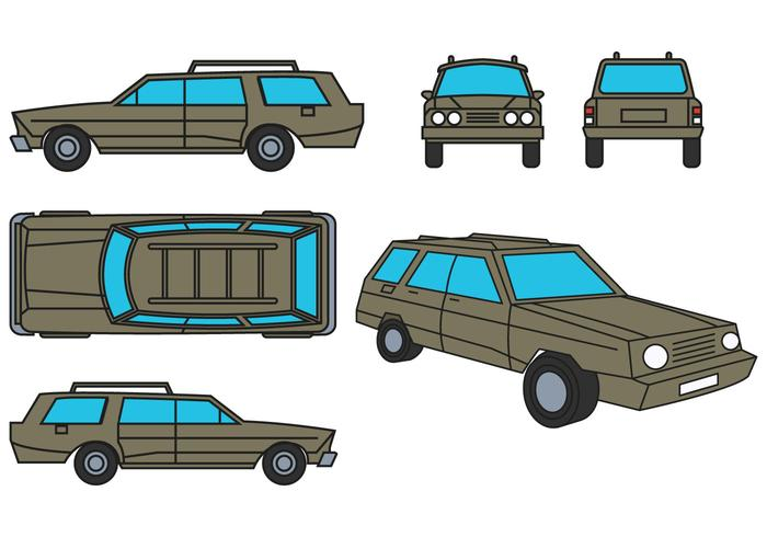 Stationwagen Vector Set