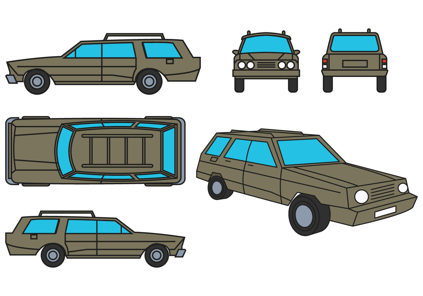 Station wagon vector set download free vector art stock for Station wagon coloring pages