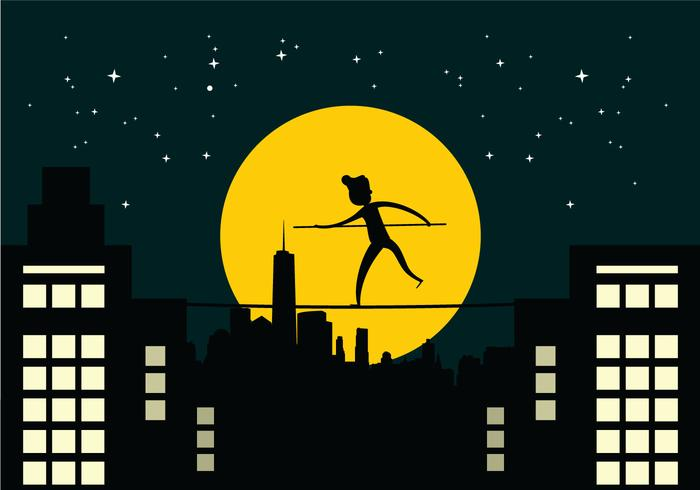 Tightrope Walker Over City Buildings At Night