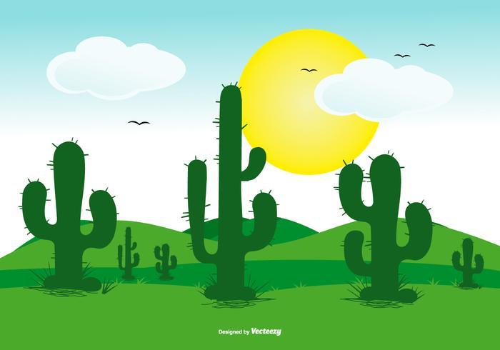 scena di paesaggio piatto carino cactus