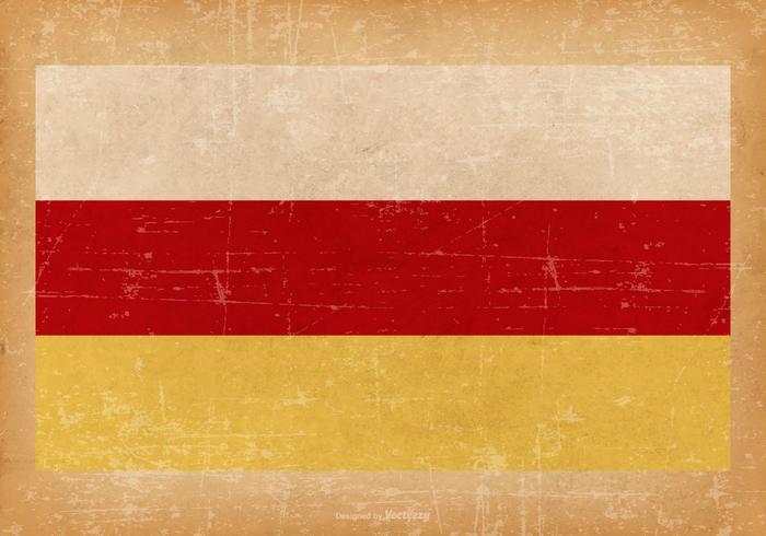 Bandiera del grunge dell'Ossezia settentrionale vettore