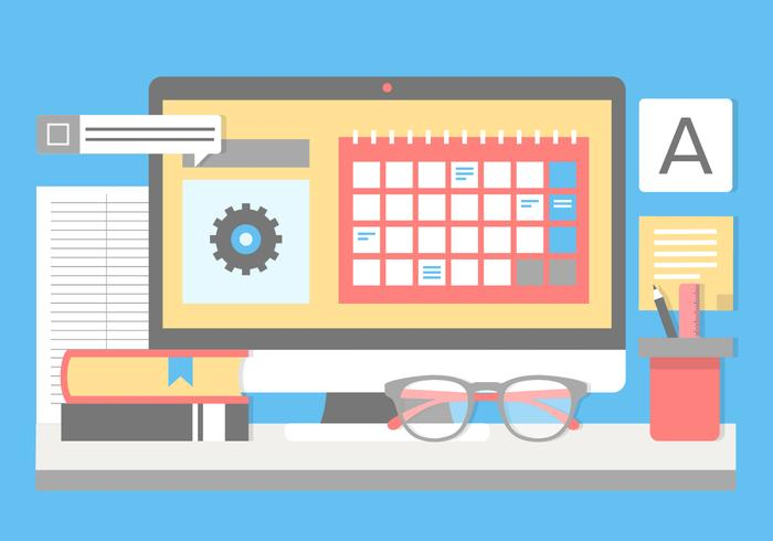 Free Flat Design Vector Designer Desk