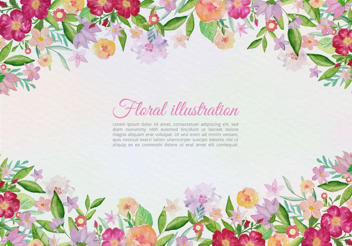 Free Vector Greeting Card With Painted Flowers