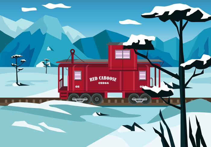 Red Caboose Vector Illustration