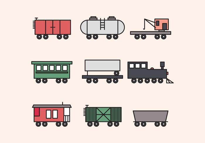 Colorful Outlined Cabooses
