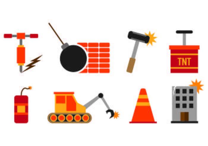 Set von Demolition Icons