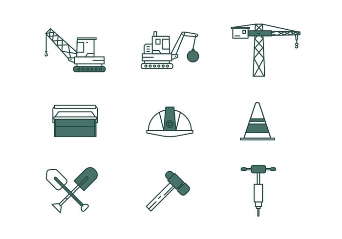 Demolition Linear Icon Pack Vector