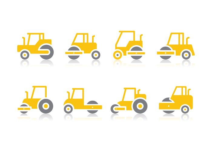 Flat Road Roller Icons Vector