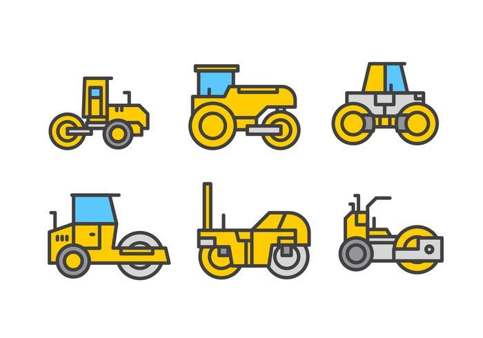 Steamroller Lineare Vektor Icon Pack