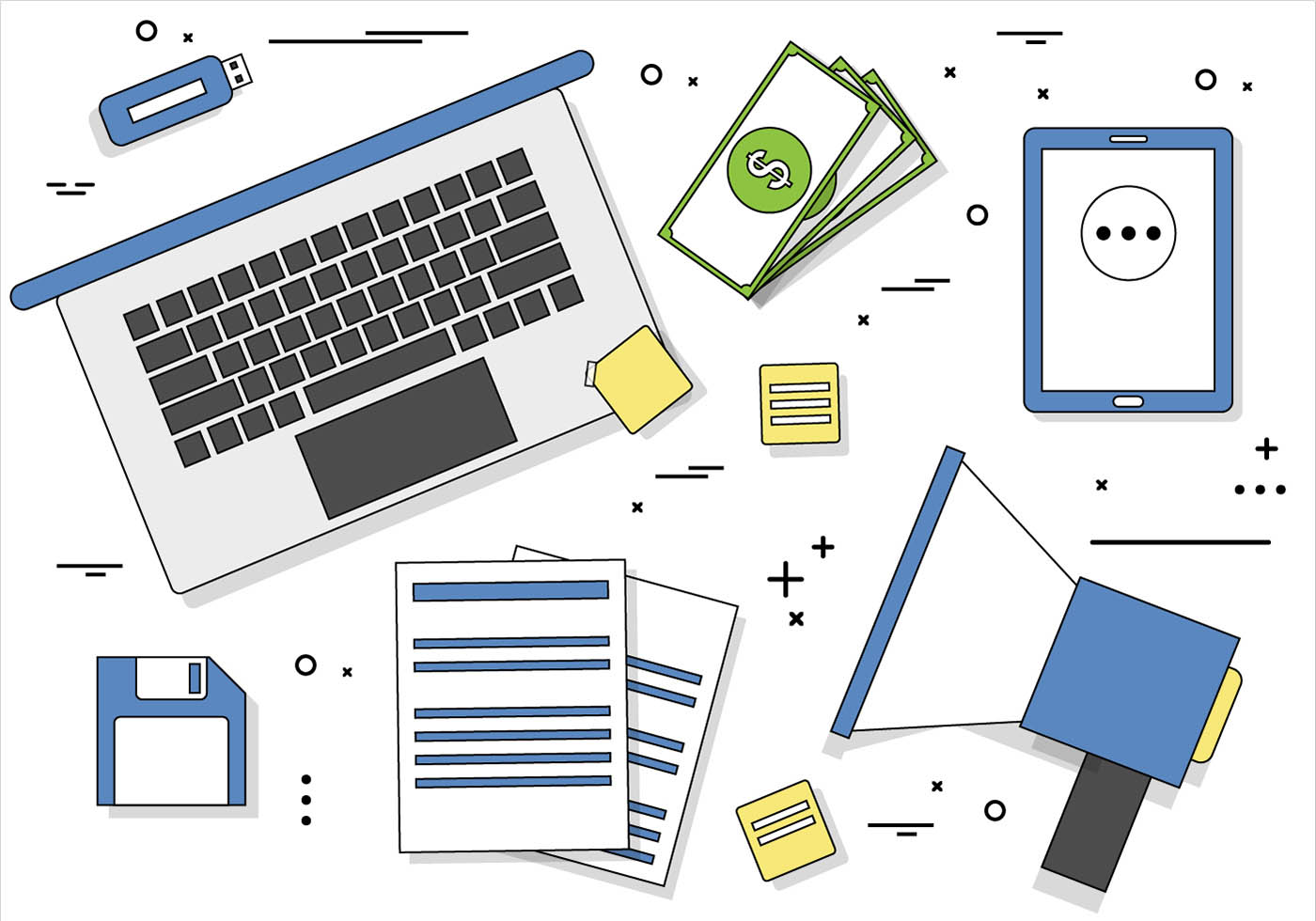 Technology Management Image: Free Flat Design Vector Digital Office Icons
