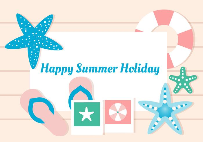 Free Flat Design Vector Summer Vacation Greeting Card