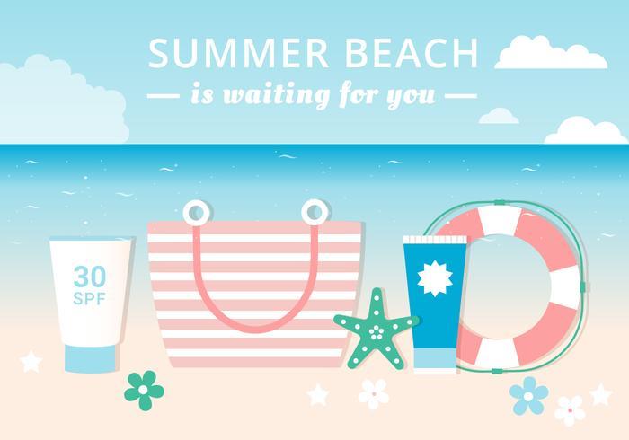 Free Flat Design Vector Summer each