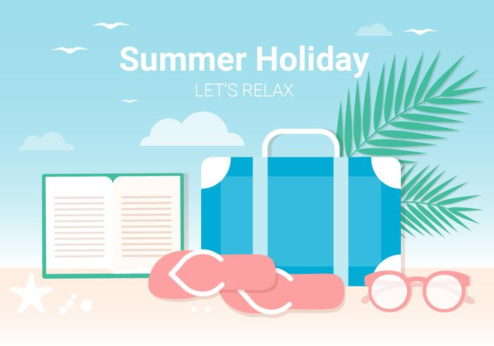 Free Flat Design Vector Summer Beach