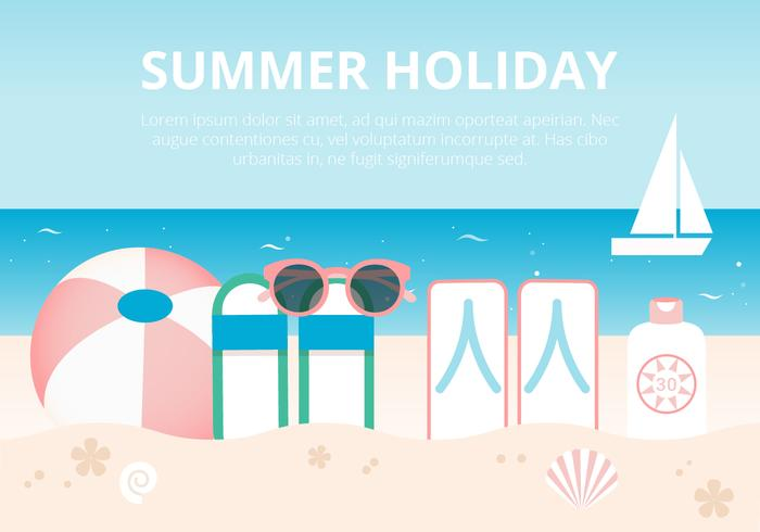 Free Flat Design Vector Summer Holidays