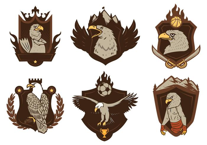 Free Eagles Badge Mascot Vector