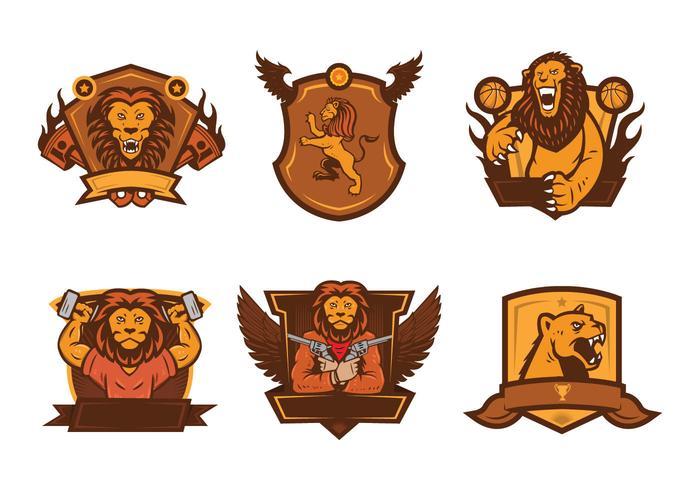 Lion Badge Mascot Vector