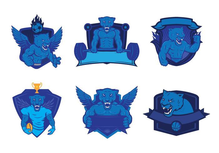 Conjunto de vectores logotipo de las panteras
