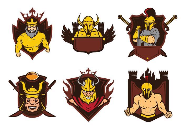 Vettore della mascotte del distintivo dei guerrieri