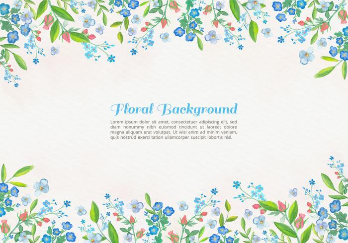 Vector libre acuarela flores azules de fondo