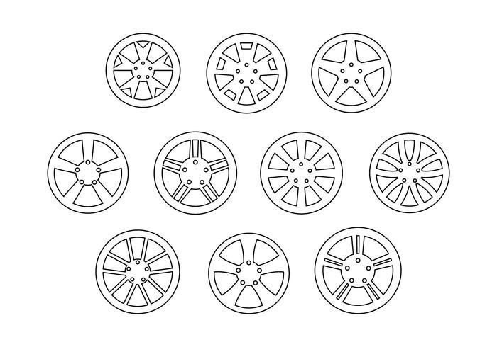 Vector de linha de coleção de rodas de liga livre