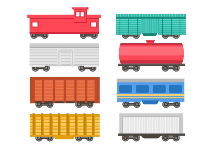 Free Passenger and Cargo Train Icons Vector