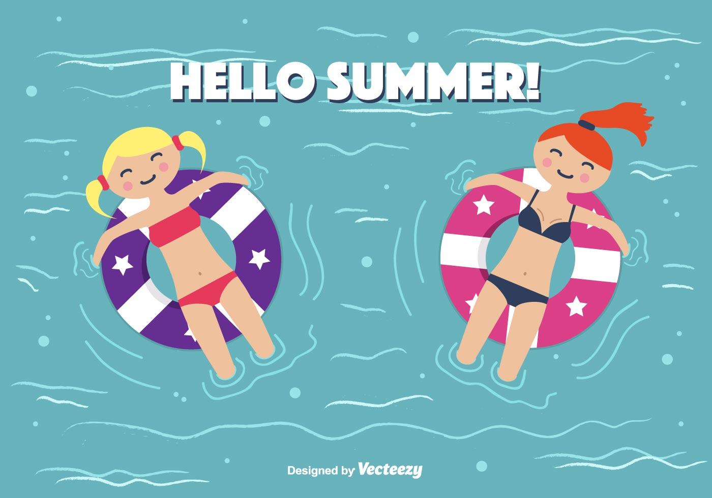 Hello Summer Vector Background Download Free Vector Art