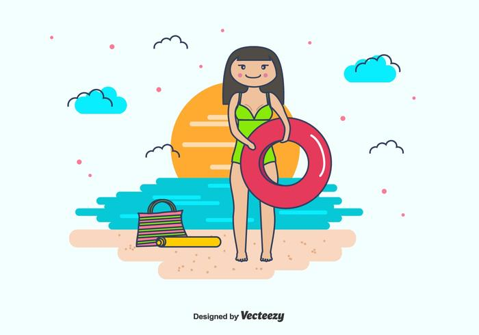 Girl And Swimming Inner Tube Vector