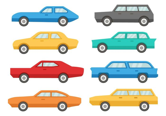 Car 60's Icons Vector