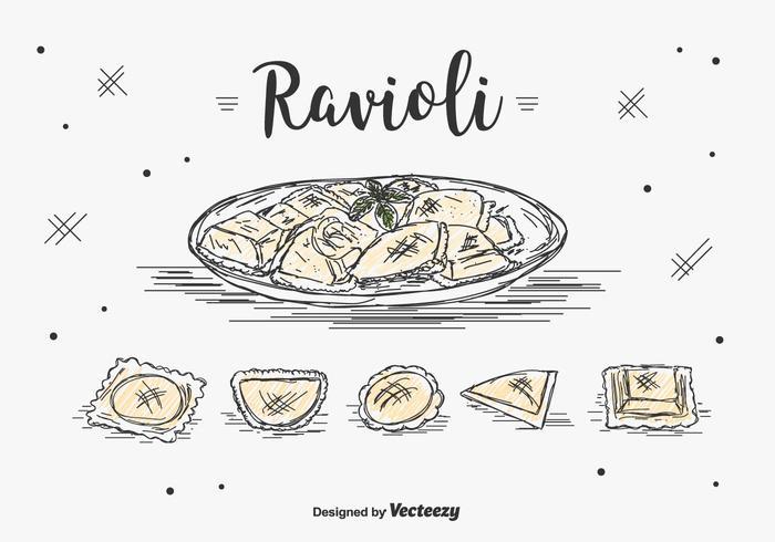 Handdragen Ravioli Vector Set