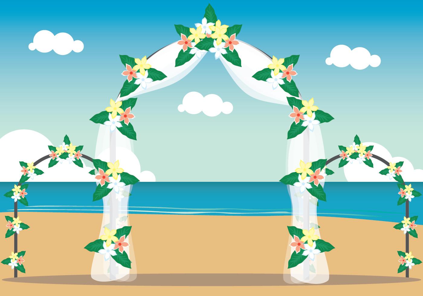 Beach Wedding Illustration - Download Free Vector Art ...