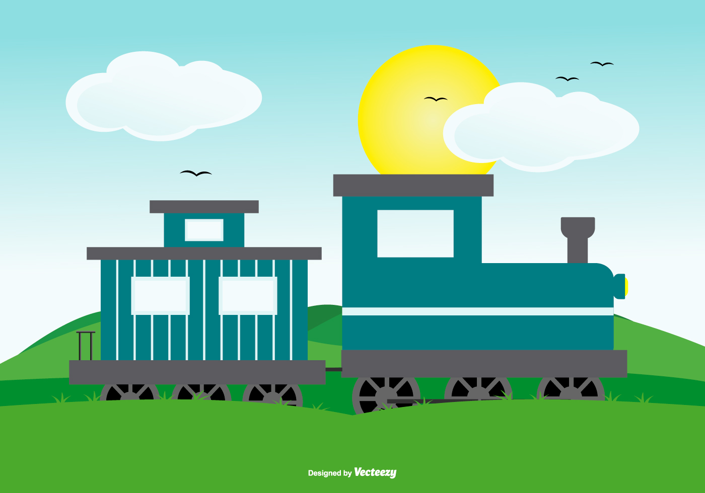 Cute Landscape Scene With Train Download Free Vector Art