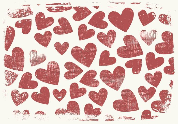 Grunge Style Hearts Background