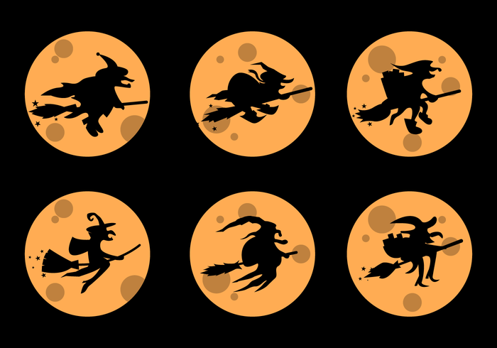 Befana Silhouette With Yellow Full Moon Vector