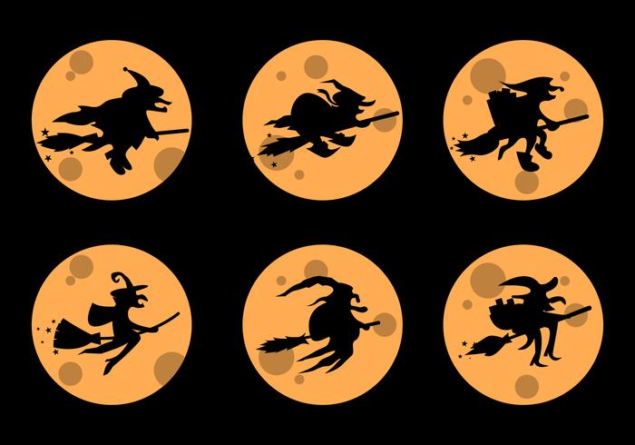 Silhueta de Befana com o vetor amarelo da Lua cheia