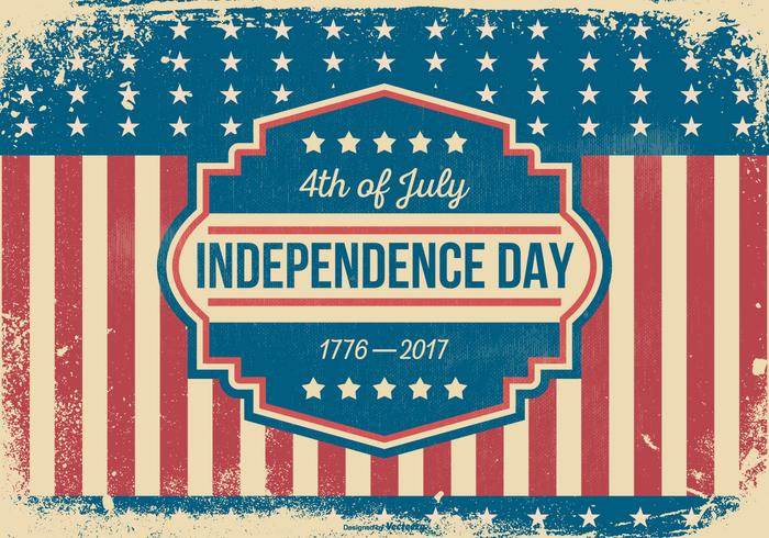 Retro Grunge Style Independence Day Illustration