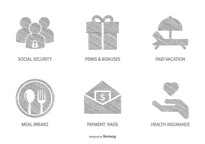Sketchy Employee Benfits Icon Collection