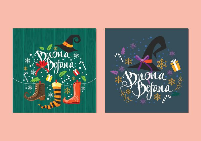Buona Befana Italian Christmas Tradition Card Vectors