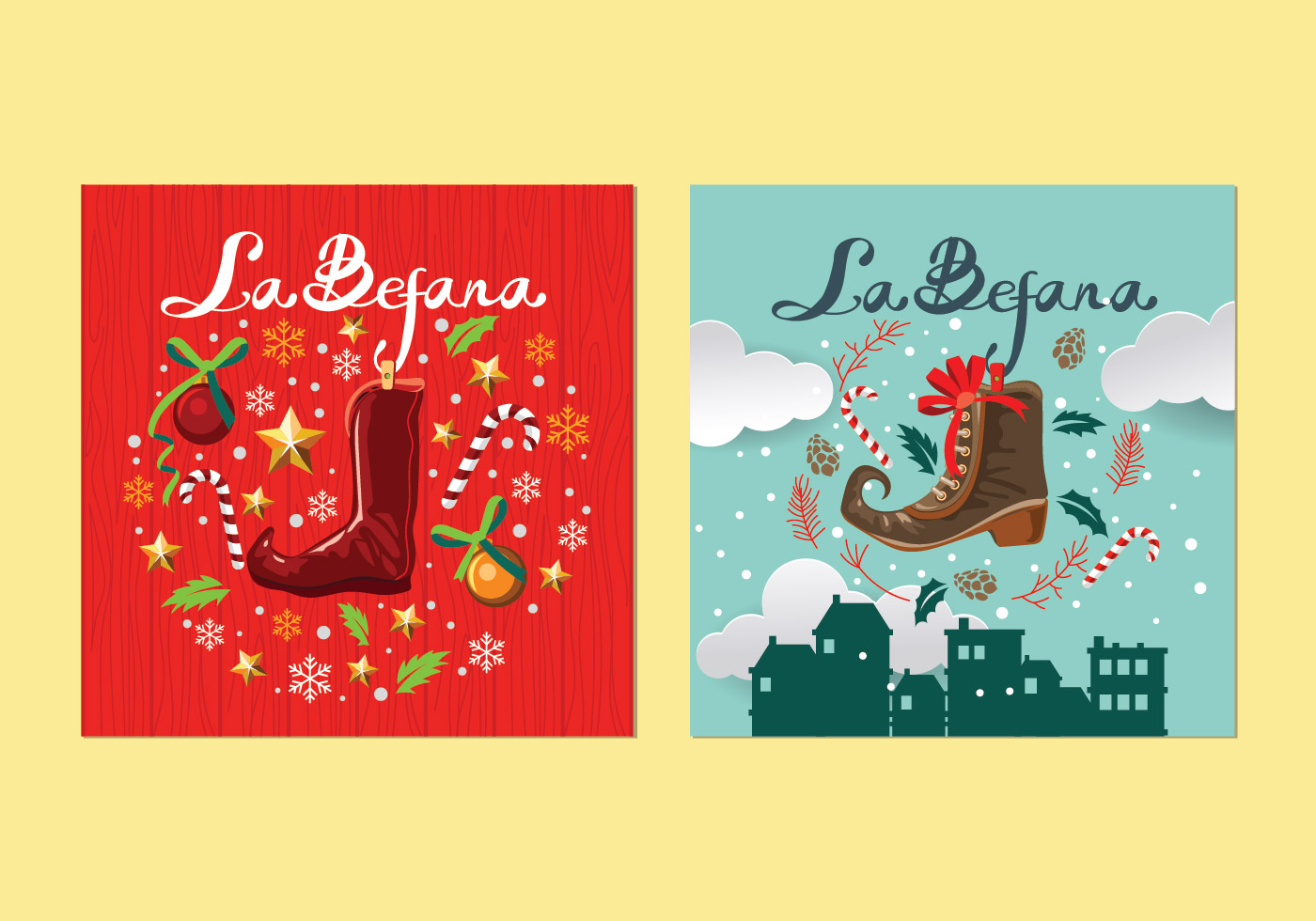 Befana Italian Christmas Tradition Card Vectors Download Free