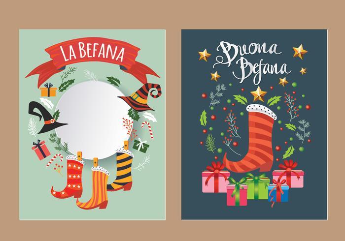 Carte della Befana - vettori italiani della tradizione di Natale