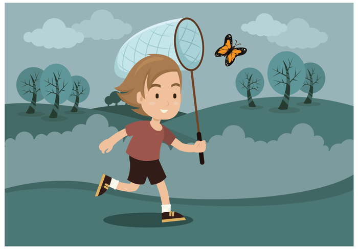 Free Boy With Butterfly Net Vector